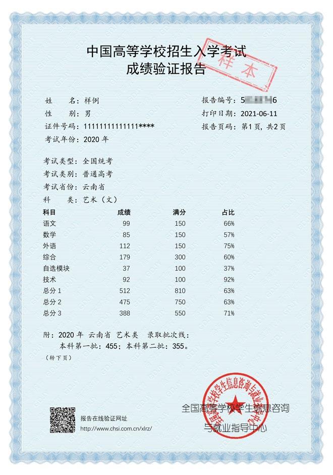 中国高等学校招生入学考试成绩验证报告