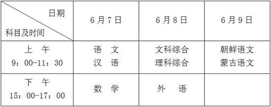 黑龙江:2018年普通高校招生全国统一考试考试科目时间安排
