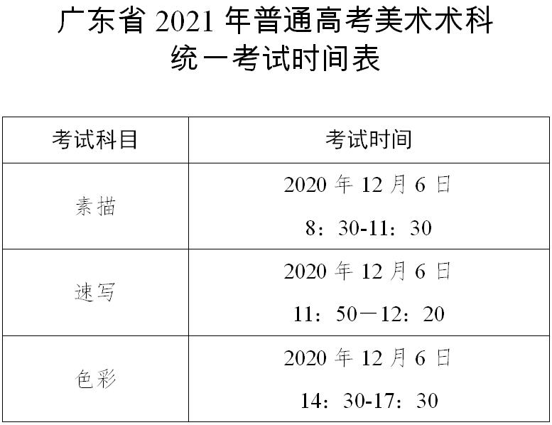 广东:2021年普通高考美术术科统一考试时间表及考生守则